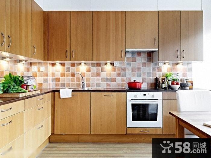 宜家厨房实木l型整体橱柜效果图