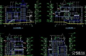 欧式三层别墅图纸设计效果图
