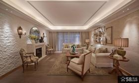 美式两室两厅户型家居室内装修样板间效果图