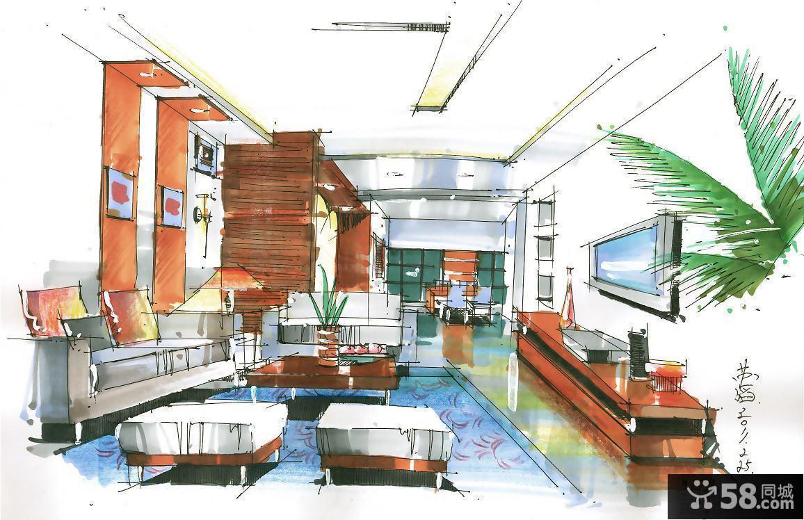 大客厅马克笔手绘效果图
