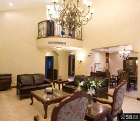 美式别墅挑高客厅装修效果图