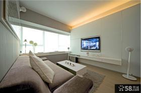 小户型客厅嵌入式液晶电视背景墙效果图