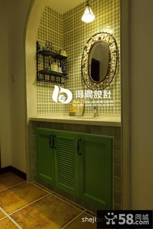 美式乡村风格卫生间洗手台瓷砖效果图图片