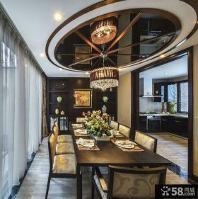 中式别墅餐厅家装吊顶设计效果图