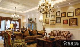 美式风格装修沙发背景墙图片