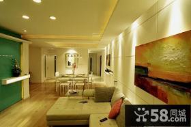 现代简约风格沙发背景墙装饰画效果图