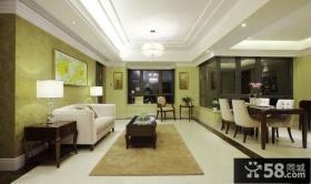 中式简约风格客厅吊顶装修效果图