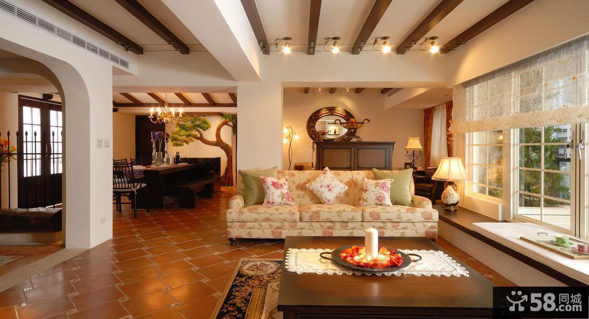 美式乡村别墅装修客厅设计图片