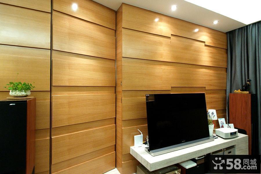 实木隐形门电视背景墙装修效果图大全