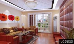 中式现代风格客厅背景墙装修效果图