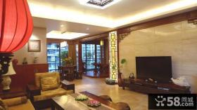 中式风格客厅瓷砖电视背景墙装修效果图片