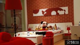 现代儿童房床头背景墙装修效果图