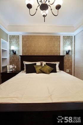 美式风格卧室床头背景墙壁纸效果图