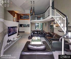 复式别墅客厅电视机背景墙装修效果图