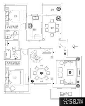 复式楼一层平面图设计