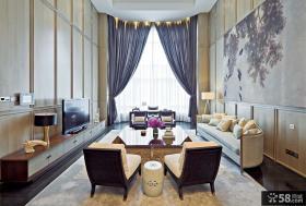 中式别墅大客厅电视背景墙装修效果图