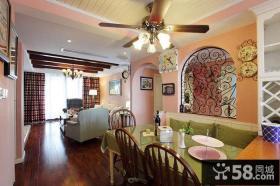 美式田园风格小户型客厅餐厅整体吊顶装修