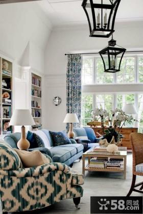 蓝色客厅沙发吊顶装修效果图