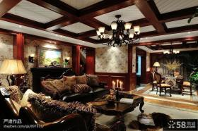 美式乡村风格别墅客厅吊顶装修效果图