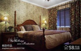 美式乡村风格卧室窗帘效果图