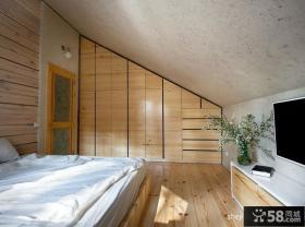 斜顶复式楼卧室柜子效果图
