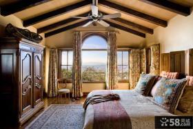 美式乡村阁楼卧室窗帘图片大全