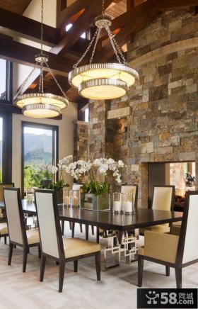 复古风格别墅餐厅装修效果图大全2014图片