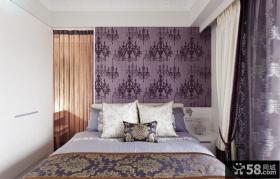 欧式花纹卧室壁纸装修效果图