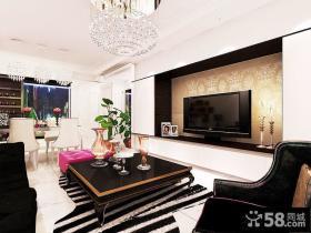 新古典家装室内客厅电视背景墙设计图片