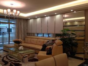 现代简约两室两厅家庭客厅沙发背景墙装修