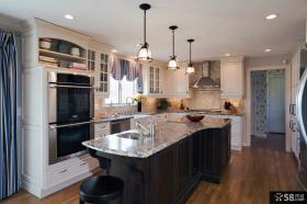 简欧风格一体式厨房装修图大全