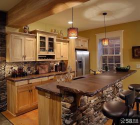 美式乡村风格厨房砖砌橱柜效果图