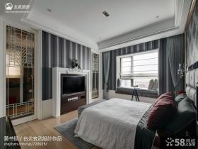 欧式风格卧室条纹壁纸电视背景墙效果图