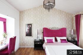 简约风格婚房卧室床头背景墙装修效果图