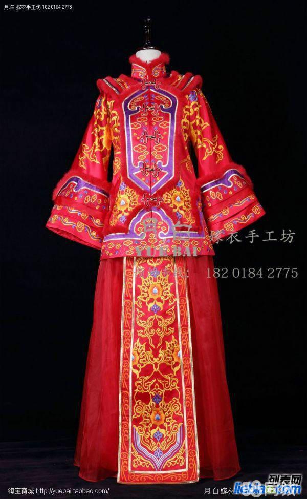 传统中式婚礼服定做手工龙凤褂秀禾服新娘装定制