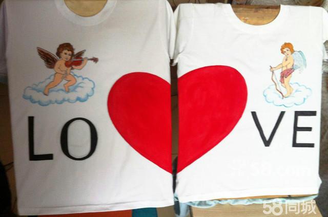 创意手绘t恤定制,情侣衫